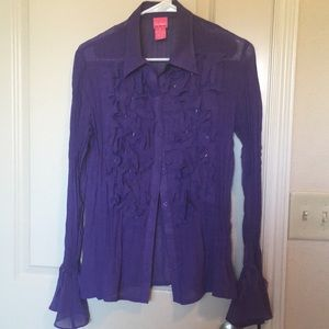 Tops - Sheer Victorian Button Up Confetti Blouse- violet